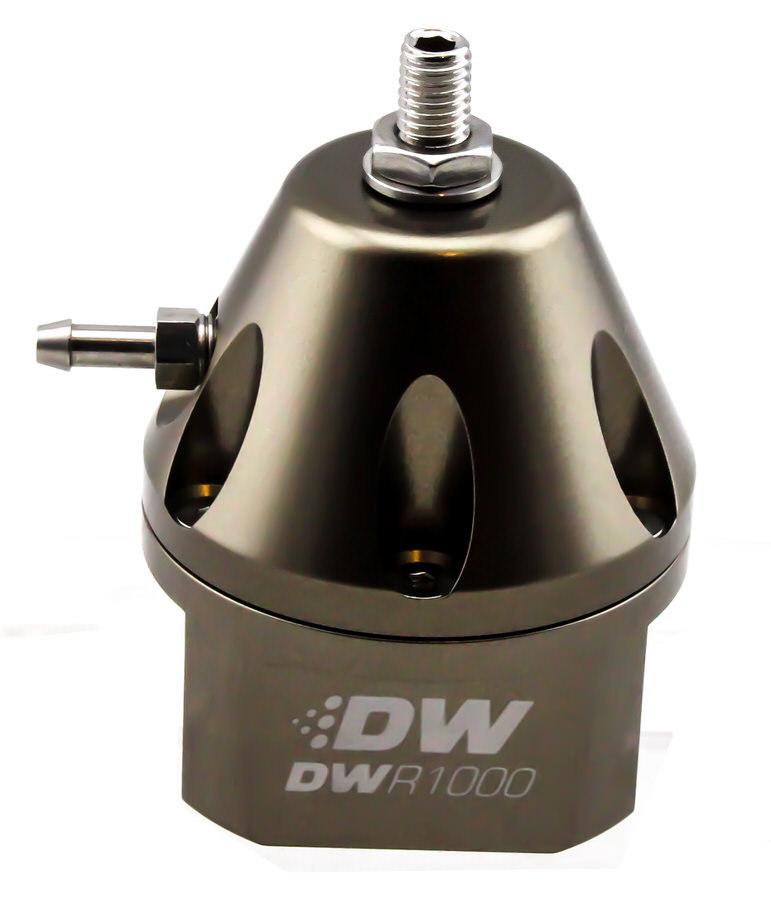 Deatschwerks 6-1000-FRT Fuel Pressure Regulator, 30 to 100 psi, In-Line, 6 AN Inlets / Return, 3/16 in Vacuum Line, 1/8 in NPT Port, Aluminum, Titanium Anodize, Each