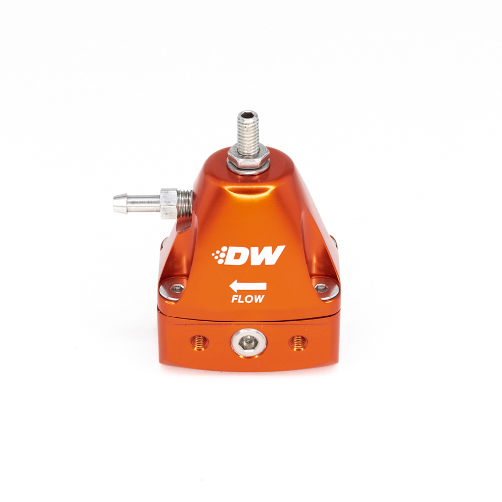 Deatschwerks 6-1001-FRO Fuel Pressure Regulator, 30 to 100 psi, In-Line, 6 AN Inlets / Outlet, 3/16 in Vacuum Line, 1/8 in NPT Port, Aluminum, Orange Anodize, Each
