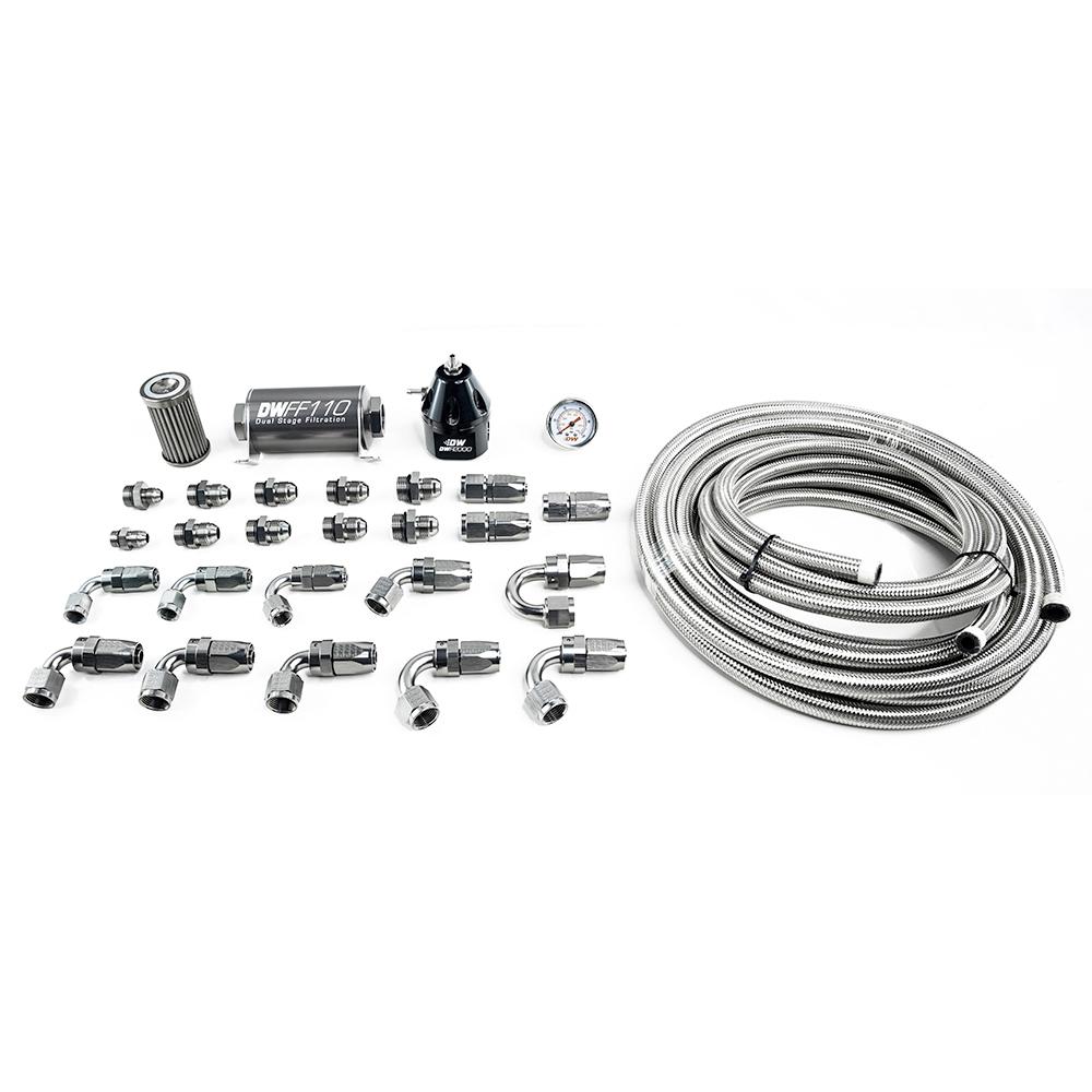 Deatschwerks 6-605 Fuel System, X2 Series, Fittings / Filter / Gauge / Regulator / Braided Hose, 10 AN, Ford Mustang 2011-2019, Kit
