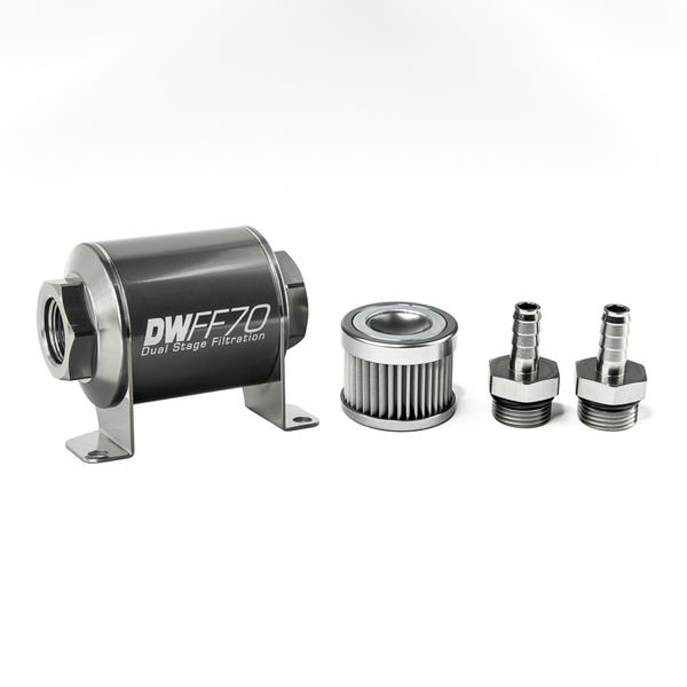 Deatschwerks 8-03-070-010K-38 Fuel Filter, In-Line, 10 Micron, Stainless Element, 3/8 in Male Hose Barb Inlet, 3/8 in Male Hose Barb Outlet, 70 mm Long, Aluminum, Titanium Anodized, Each