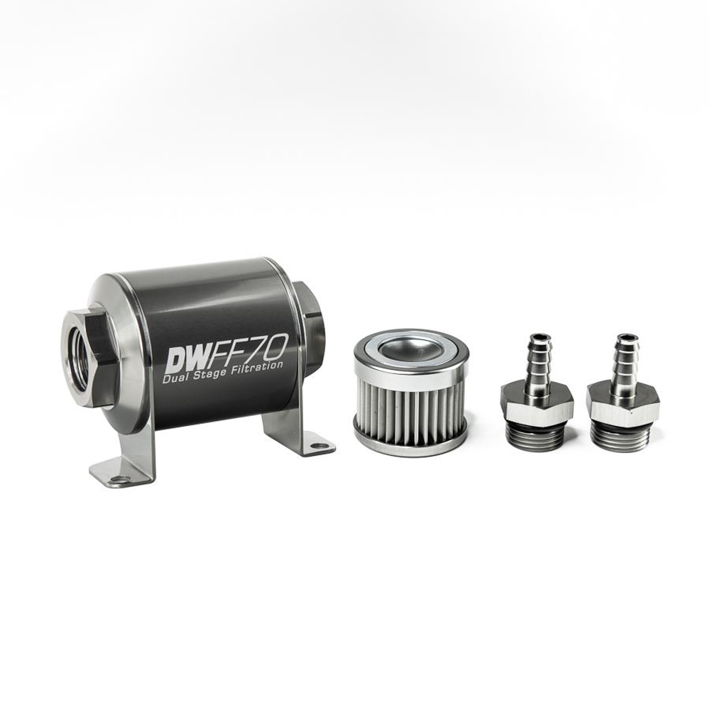 Deatschwerks 8-03-070-010K-516 Fuel Filter, In-Line, 10 Micron, Stainless Element, 5/16 in Male Hose Barb Inlet, 5/16 in Male Hose Barb Outlet, 70 mm Long, Aluminum, Titanium Anodized, Each