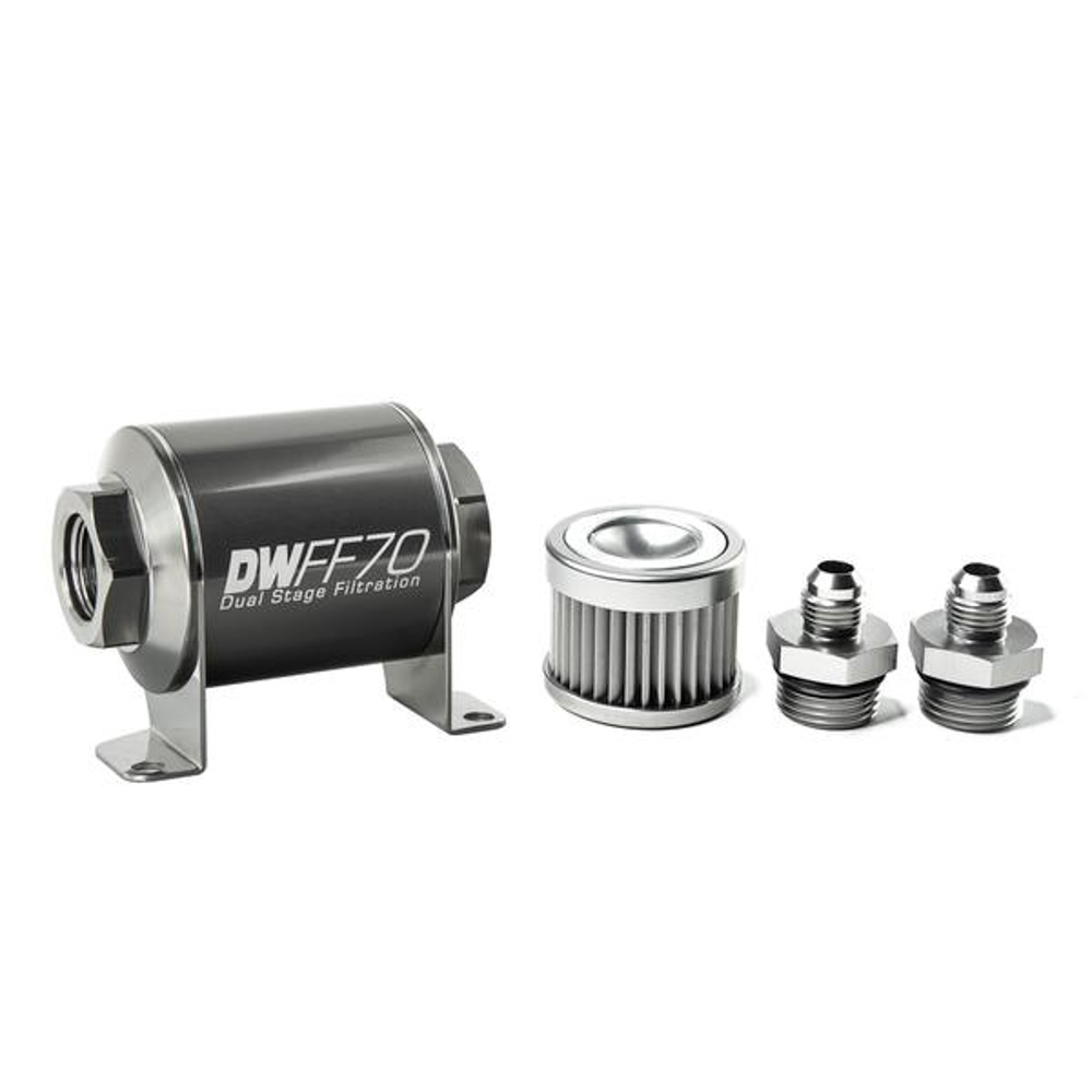 Deatschwerks 8-03-070-010K-6 Fuel Filter, In-Line, 10 Micron, Stainless Element, 6 AN Male Inlet, 6 AN Male Outlet, 70 mm Long, Aluminum, Titanium Anodized, Each