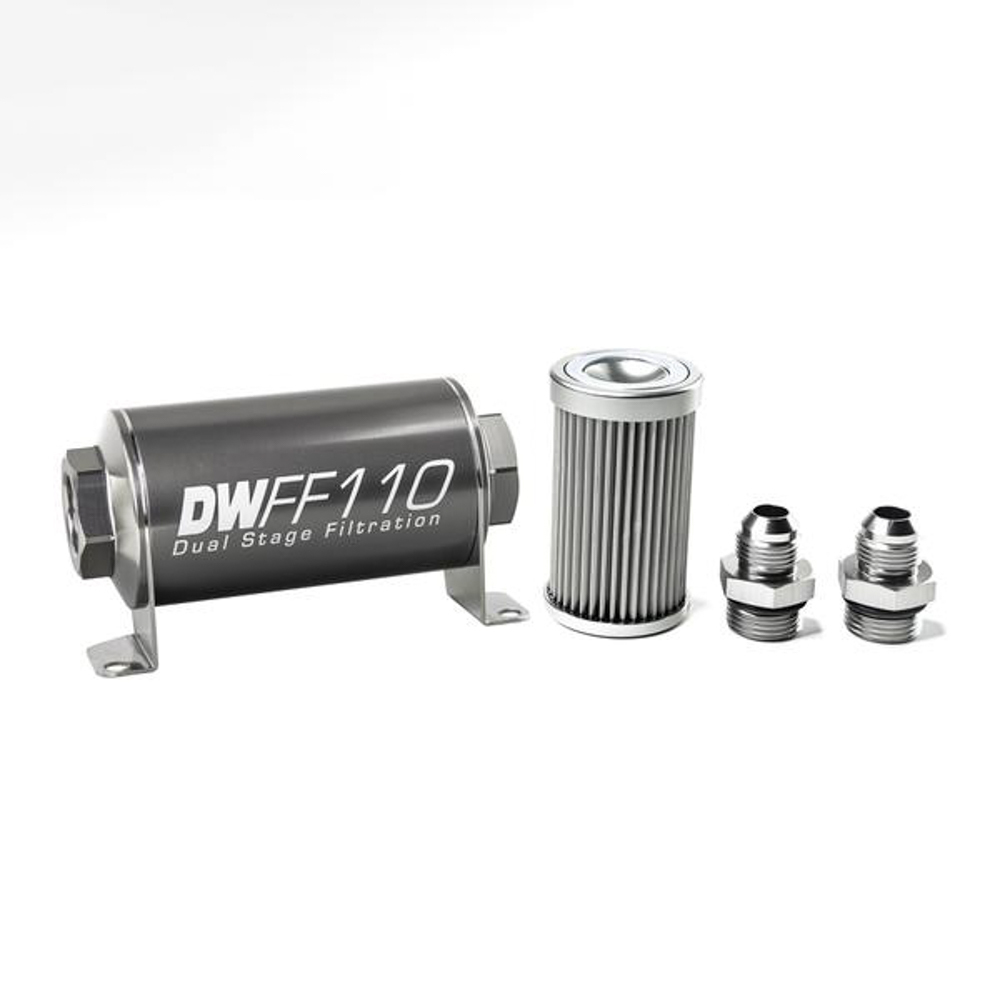 Deatschwerks 8-03-110-010K-8 Fuel Filter, In-Line, 10 Micron, Stainless Element, 8 AN Male Inlet, 8 AN Male Outlet, 110 mm Long, Aluminum, Titanium Anodized, Each