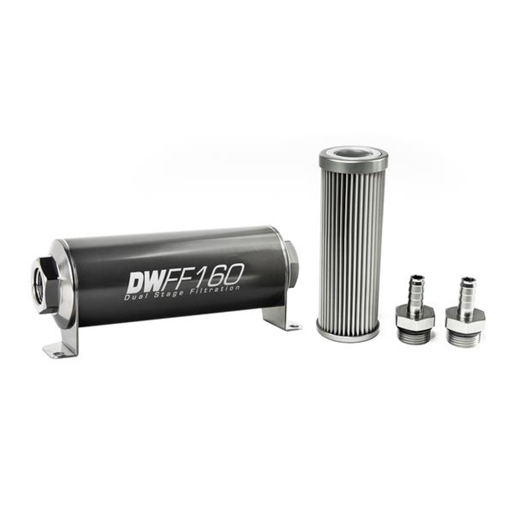 Deatschwerks 8-03-160-010K-38 Fuel Filter, In-Line, 10 Micron, Stainless Element, 3/8 in Male Hose Barb Inlet, 3/8 in Male Hose Barb Outlet, 160 mm Long, Aluminum, Titanium Anodized, Each