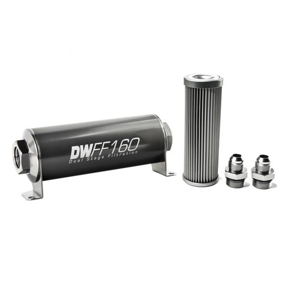 Deatschwerks 8-03-160-010K-8 Fuel Filter, In-Line, 10 Micron, Stainless Element, 8 AN Male Inlet, 8 AN Male Outlet, 160 mm Long, Aluminum, Titanium Anodized, Each