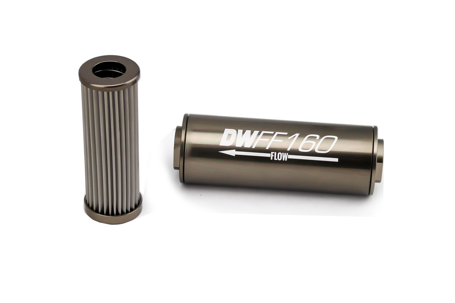 Deatschwerks 8-03-160-100K Fuel Filter, In-Line, 100 Micron, Stainless Element, 8 AN Female Inlet, 8 AN Female Outlet, 160 mm Long, Aluminum, Titanium Anodize, Each