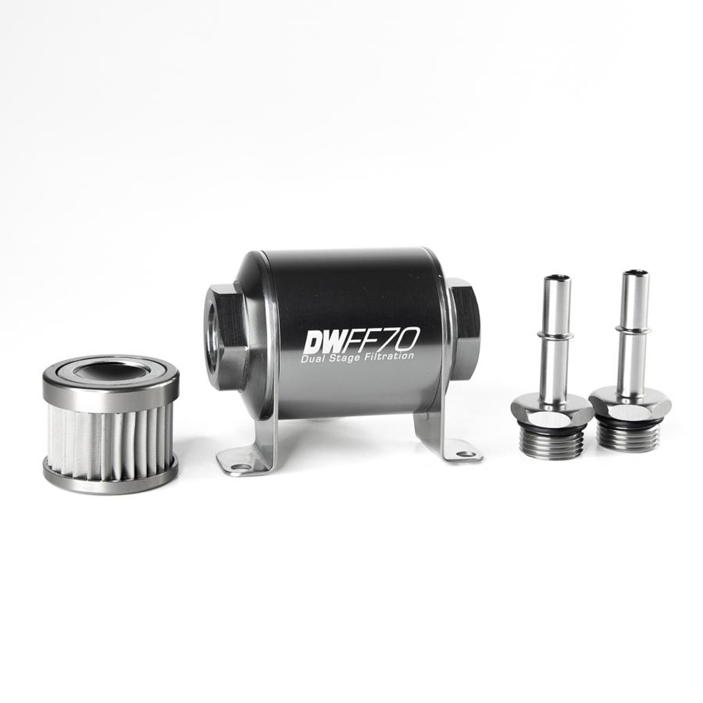 Deatschwerks 8-05-02-010 Fuel Filter, In-Line, 10 Micron, Stainless Element, 5/16 in Male Hose Barb Inlet, 5/16 in Male Hose Barb Outlet, Aluminum, Titanium Anodized, Ford Mustang 2005-20, Each