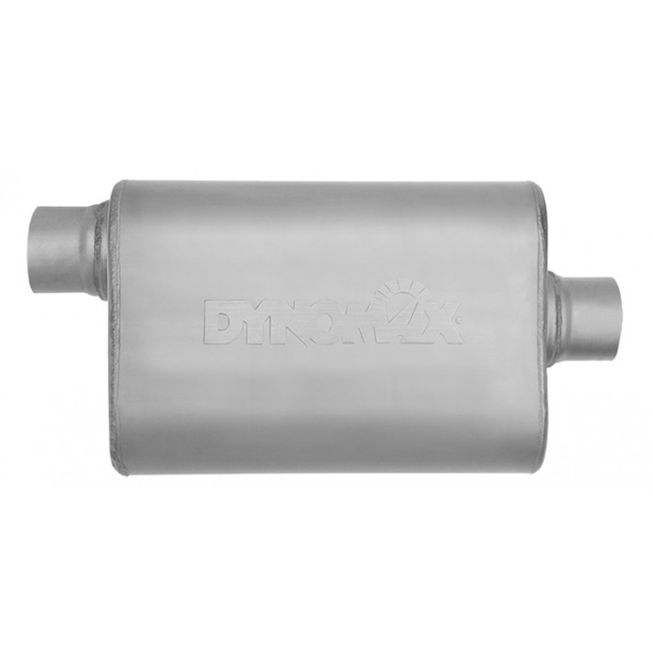 Dynomax 17219 Muffler, Ultra Flo Welded, 2-1/2 in Offset Inlet, 2-1/2 in Center Outlet, 14 x 9-3/4 x 4-1/2 in Oval Body, 19 in Long, Stainless, Natural, Each