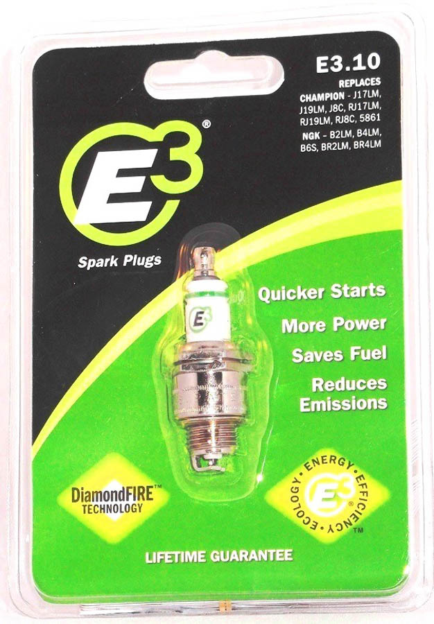 E3 Spark Plugs E3.10 Spark Plug, Diamond Fire, 14 mm Thread, 0.375 in Reach, Gasket Seat, Non-Resistor, Each