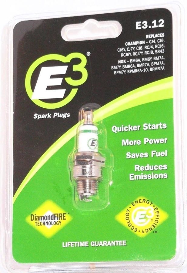 E3 Spark Plugs E3.12 Spark Plug, Diamond Fire, 14 mm Thread, 0.375 in Reach, Gasket Seat, Non-Resistor, Each