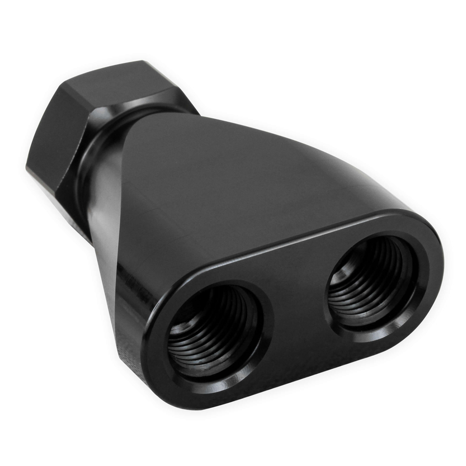 Earls 100160ERL Fitting, Y Block, 8 AN Female Inlet, Dual 6 AN Female Outlets, Aluminum, Black Anodize, Each