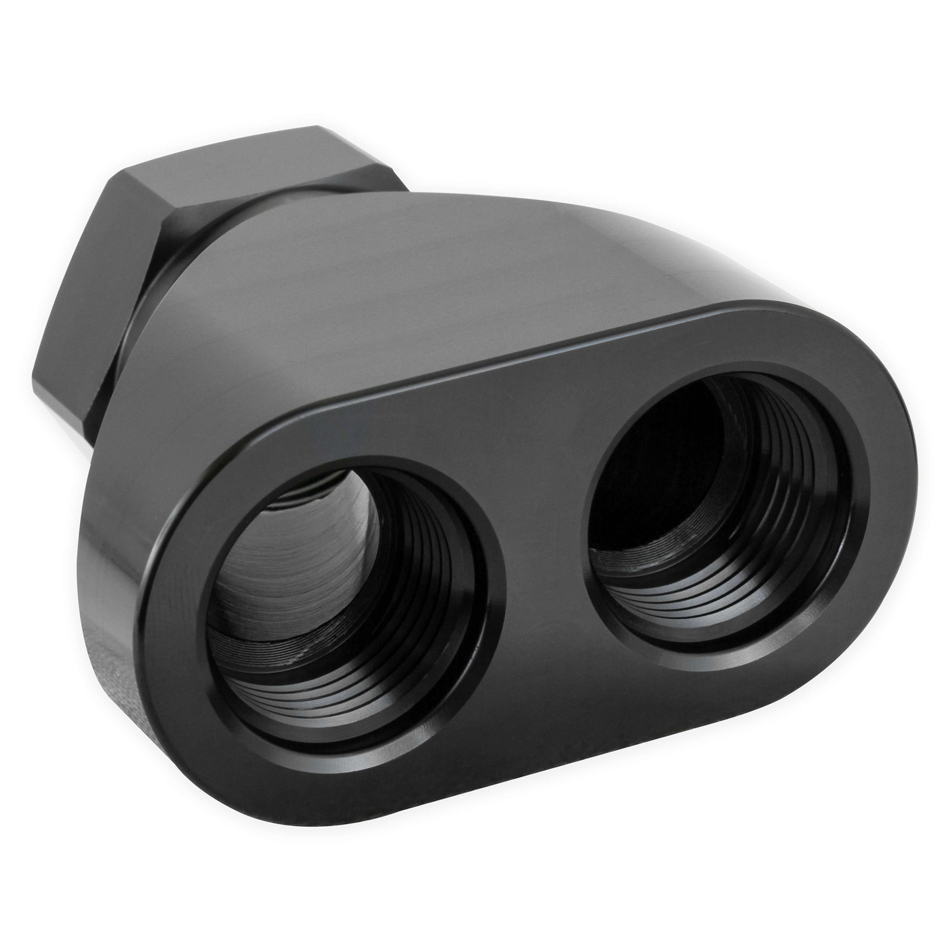 Earls 100162ERL Fitting, Y Block, 12 AN Female Inlet, Dual 10 AN Female Outlets, Aluminum, Black Anodize, Each