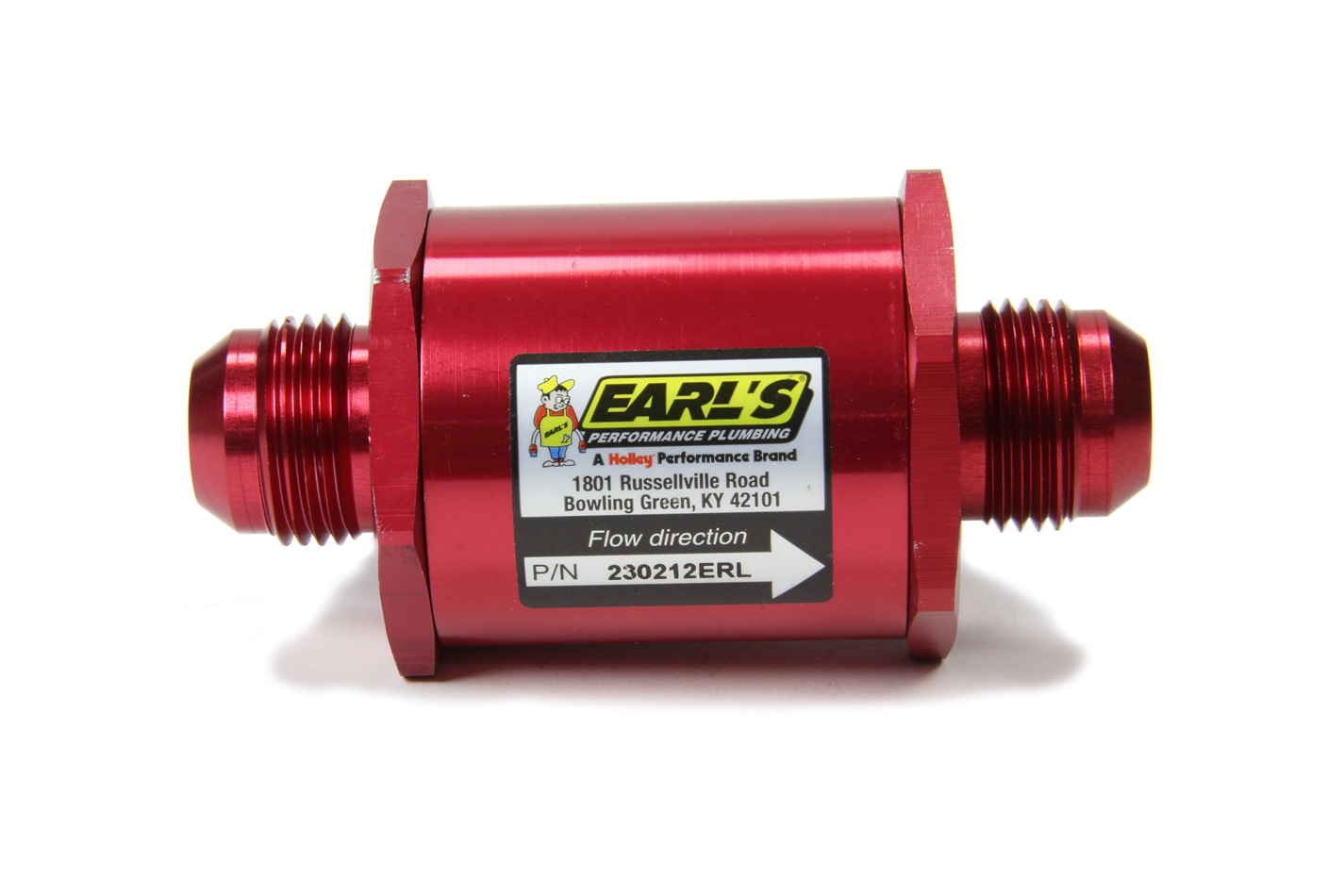 Earls 230212ERL Fuel Filter, In-Line, 85 Micron, Stainless Element, 12 AN Male Inlet, 12 AN Male Outlet, Aluminum, Red Anodize, Each