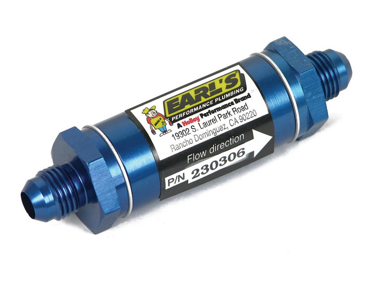 Earls 230308ERL Oil Filter, In-Line, Stainless Screen, 8 AN Male Inlet, 8 AN Male Outlet, Aluminum, Blue Anodize, Each