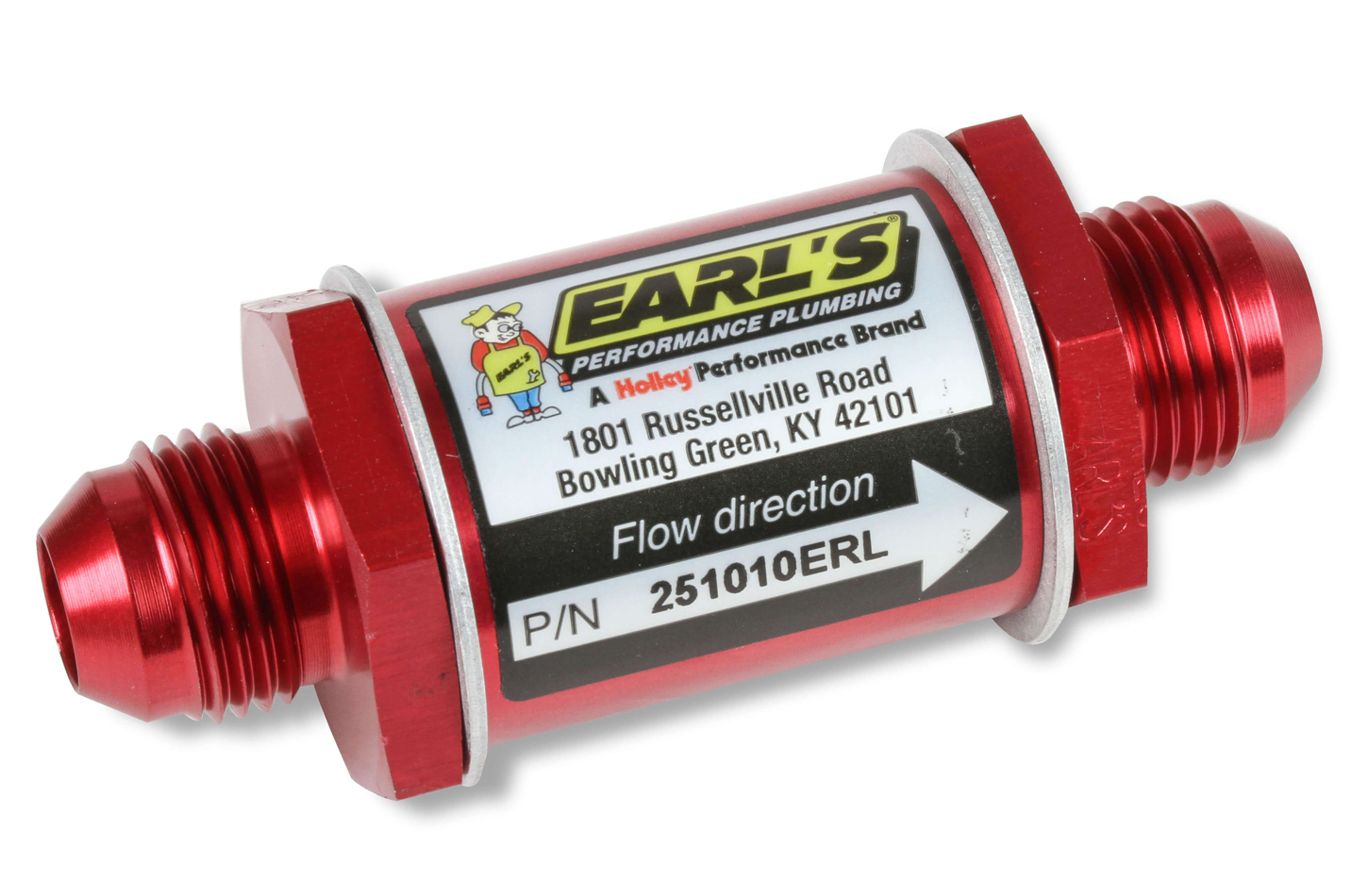 Earls 251010ERL Check Valve, 10 AN Male Inlet, 10 AN Male Outlet, 150 psi Max, Aluminum, Red Anodize, Each