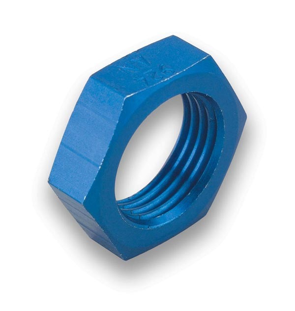 Earls 592403ERL Bulkhead Fitting Nut, 3 AN, Aluminum, Blue Anodized, Pair