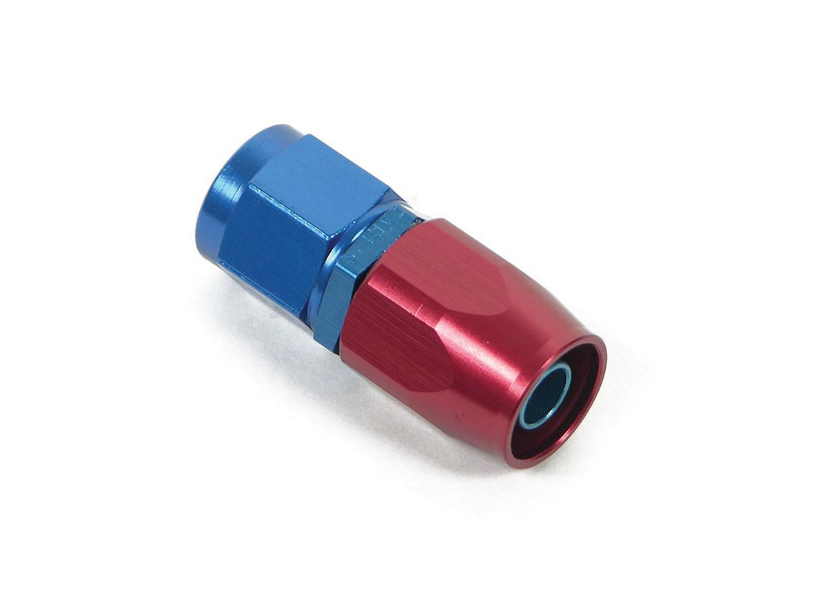 Earls 800108ERL Fitting, Hose End, Swivel-Seal, Straight, 8 AN Hose to 8 AN Female Swivel, Aluminum, Blue / Red Anodized, Each