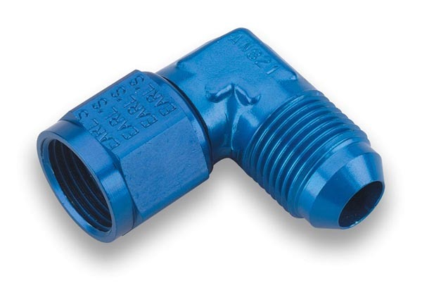Earls 921106ERL Fitting, Adapter, 90 Degree, 6 AN Female Swivel to 6 AN Male, Aluminum, Blue Anodize, Each