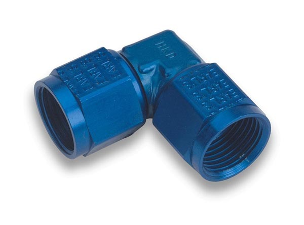 Earls 934112ERL Fitting, Adapter, 90 Degree, 12 AN Female Swivel to 12 AN Female Swivel, Low Profile, Aluminum, Blue Anodize, Each