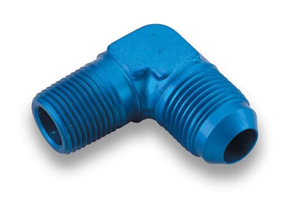 Earls 982268ERL Fitting, Adapter, 90 Degree, 6 AN Male to 1/2 in NPT Male, Aluminum, Blue Anodized, Each