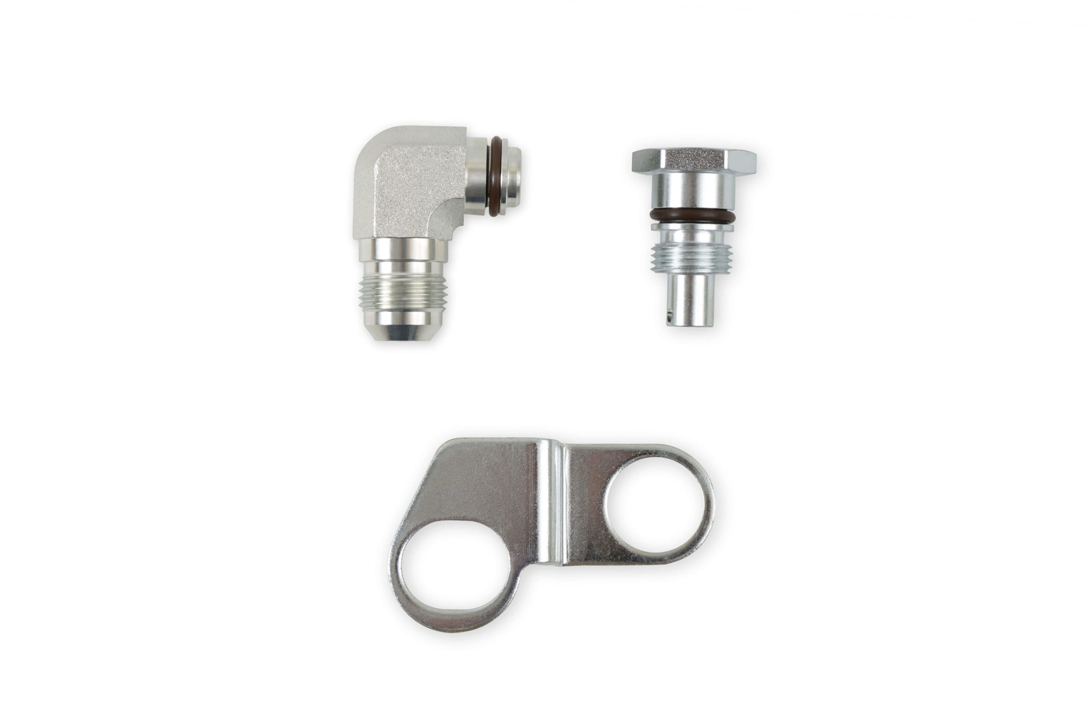 Earls PS0002ERL Fitting, Adapter, Straight, 10 AN Male Reservoir, 5/8 in Hose Barb, Flow Valve / Retaining Bracket, Steel, Natural, Kit