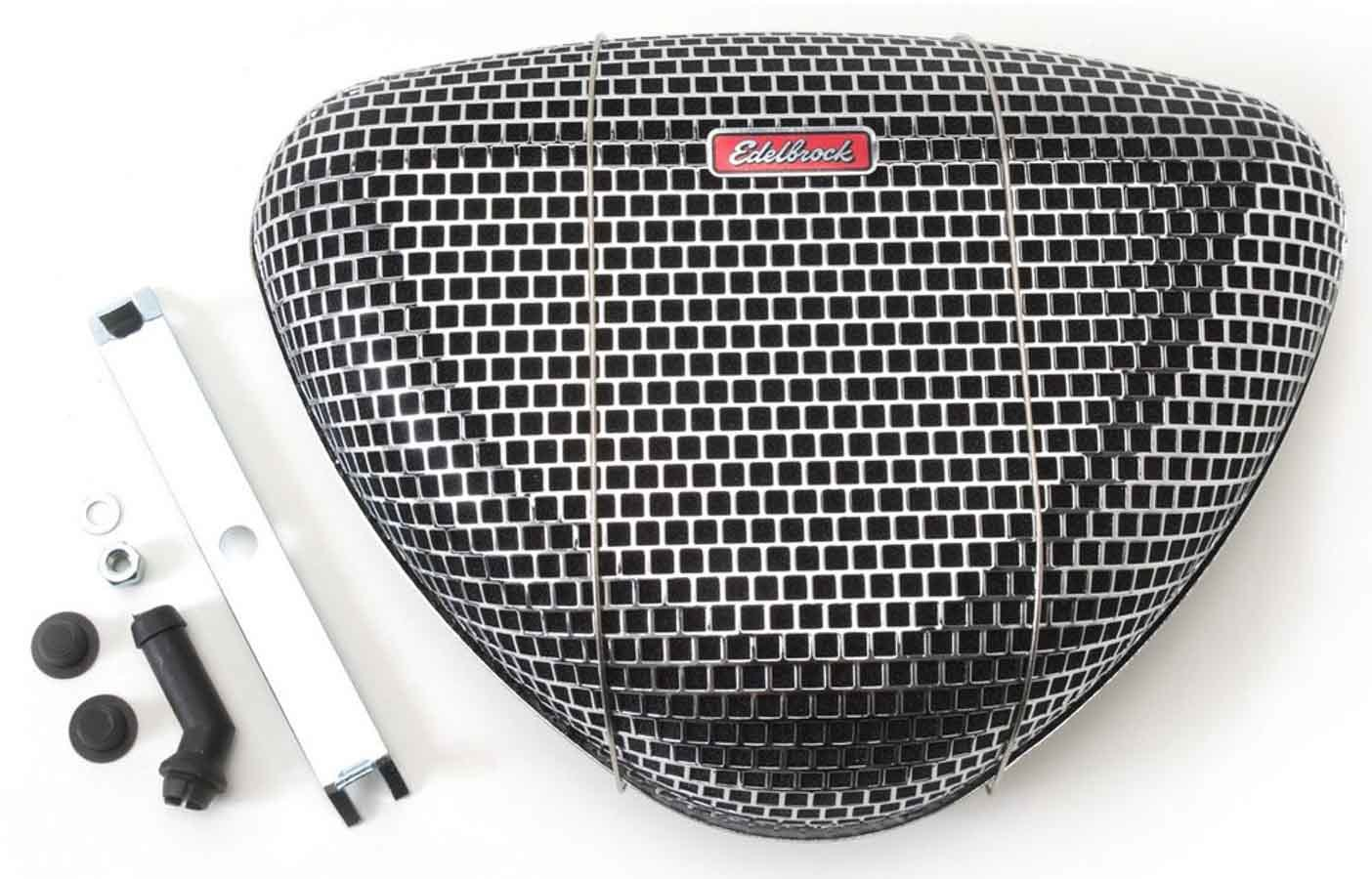 Edelbrock 1002 Air Cleaner Assembly, Pro-Flo 1000, 11-3/8 x 8-3/8 in Triangle, 3 in Tall, 5-1/8 in Carb Flange, Raised Base, Steel, Chrome, Kit