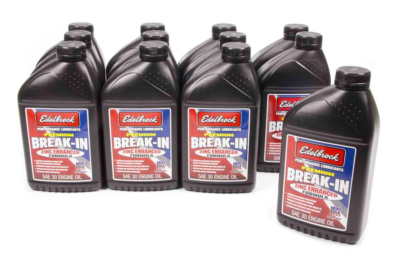 Edelbrock 1080 Motor Oil, Break-In, High Zinc, 30W, Conventional, 1 qt Bottle, Set of 12