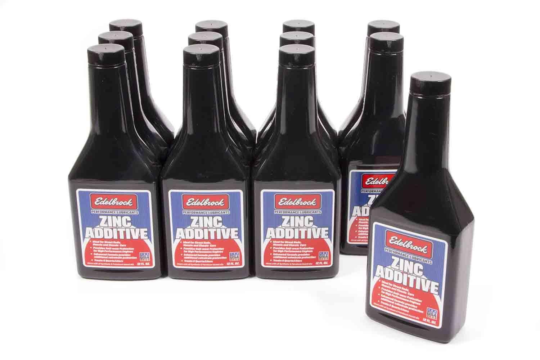 Edelbrock 1084 Motor Oil Additive, Zinc Additive, High Zinc, 12 oz Bottle, Set of 12
