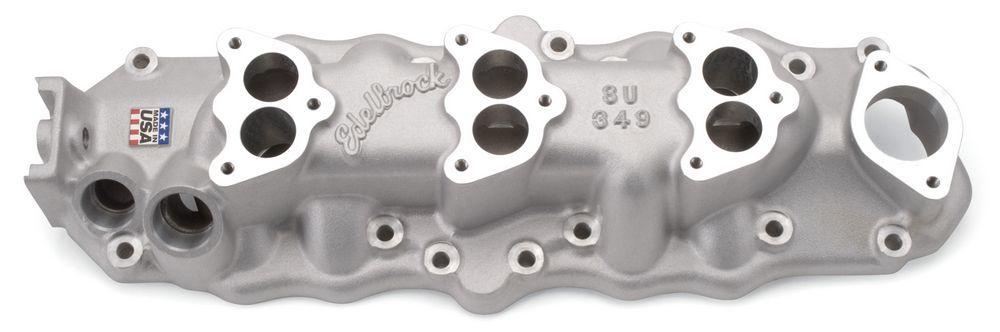 Edelbrock 1109 Intake Manifold, Triple Deuce Manifold, 3-Bolt Flange, Three 2-Barrel, Aluminum, Natural, Ford Flathead, Each