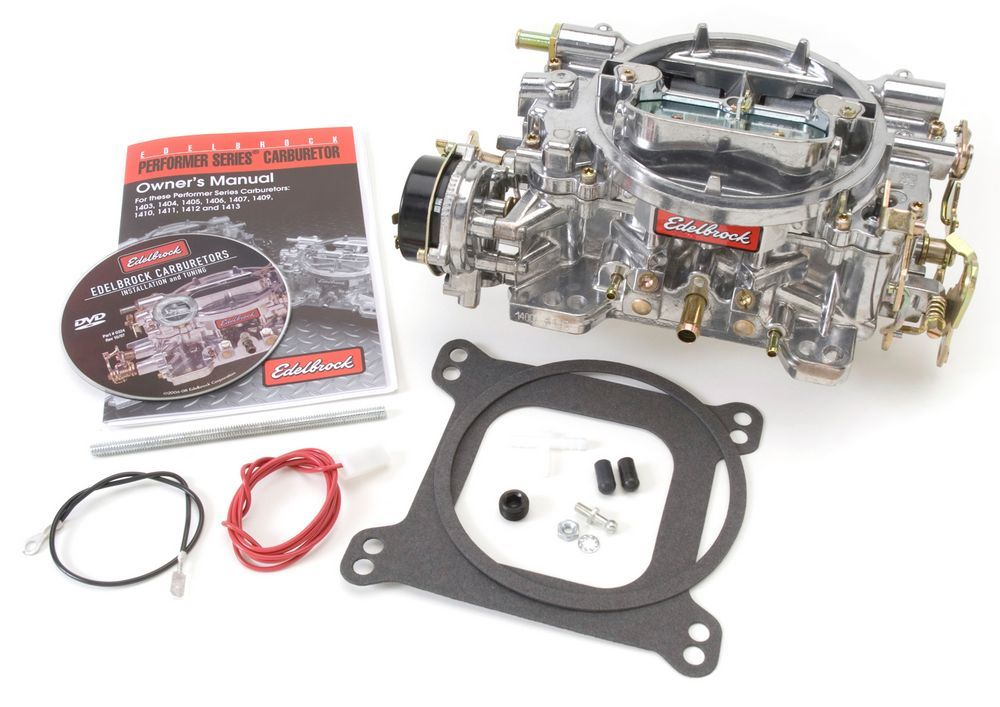 Edelbrock 1400 Carburetor, Performer, 4-Barrel, 600 CFM, Square Bore, Electric Choke, Mechanical Secondary, Single Inlet, Satin, Each