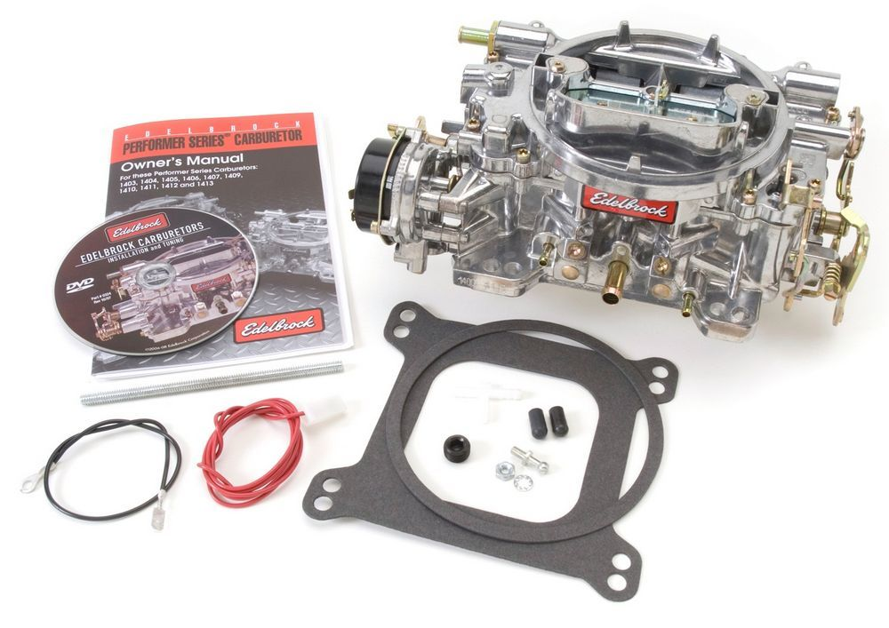Edelbrock 1403 Carburetor, Performer, 4-Barrel, 500 CFM, Square Bore, Electric Choke, Mechanical Secondary, Single Inlet, Satin, Each