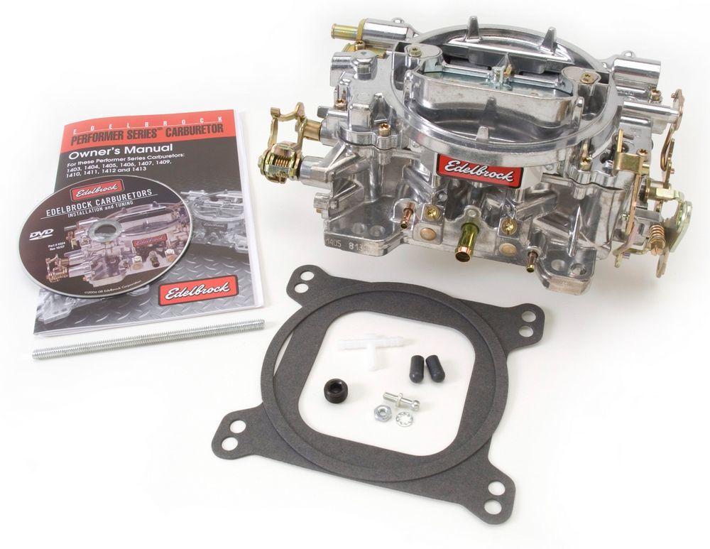Edelbrock 1404 Carburetor, Performer, 4-Barrel, 500 CFM, Square Bore, Manual Choke, Mechanical Secondary, Single Inlet, Satin, Each