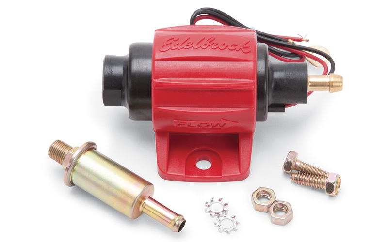 Edelbrock 17301 Fuel Pump, Micro In-Line, Electric, In-Line, 38 gph Free Flow, 1/8 in NPT Female, 5/16 in Hose Barb Outlet, Filter, E85 / Gas, Each