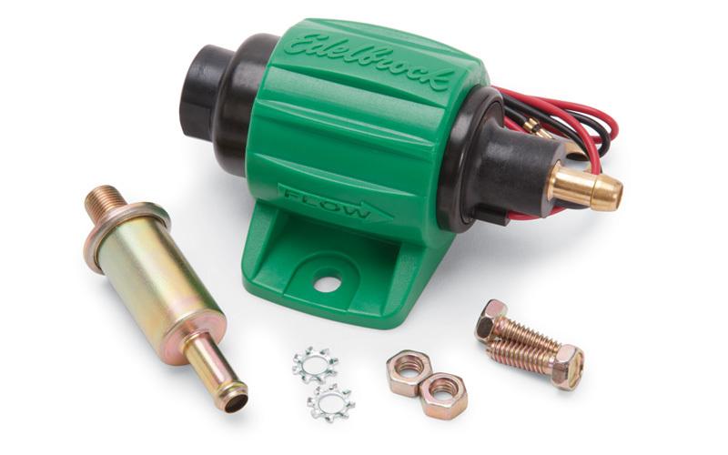 Edelbrock 17302 Fuel Pump, Micro Electric Diesel, Electric, In-Line, 38 gph Freeflow, 1/8 in NPT Female, 5/16 in Hose Barb Outlet, Filter, Diesel, Each