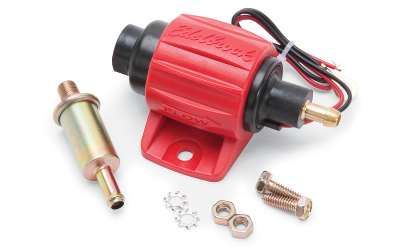 Edelbrock 17303 Fuel Pump, Micro In-Line, Electric, In-Line, 30 gph Free Flow, 1/8 in Female, 5/16 in Hose Barb Outlet, Filter, E85 / Gas, Each