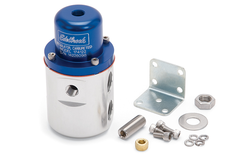 Edelbrock 174122 Fuel Pressure Regulator, 5 to 10 psi, In-Line, 3/8 in NPT Female Inlets, 3/8 in NPT Female Outlet, 1/8 in NPT Female Port, Aluminum, Blue / Clear Anodized, E85 / Gas / Methanol, Each
