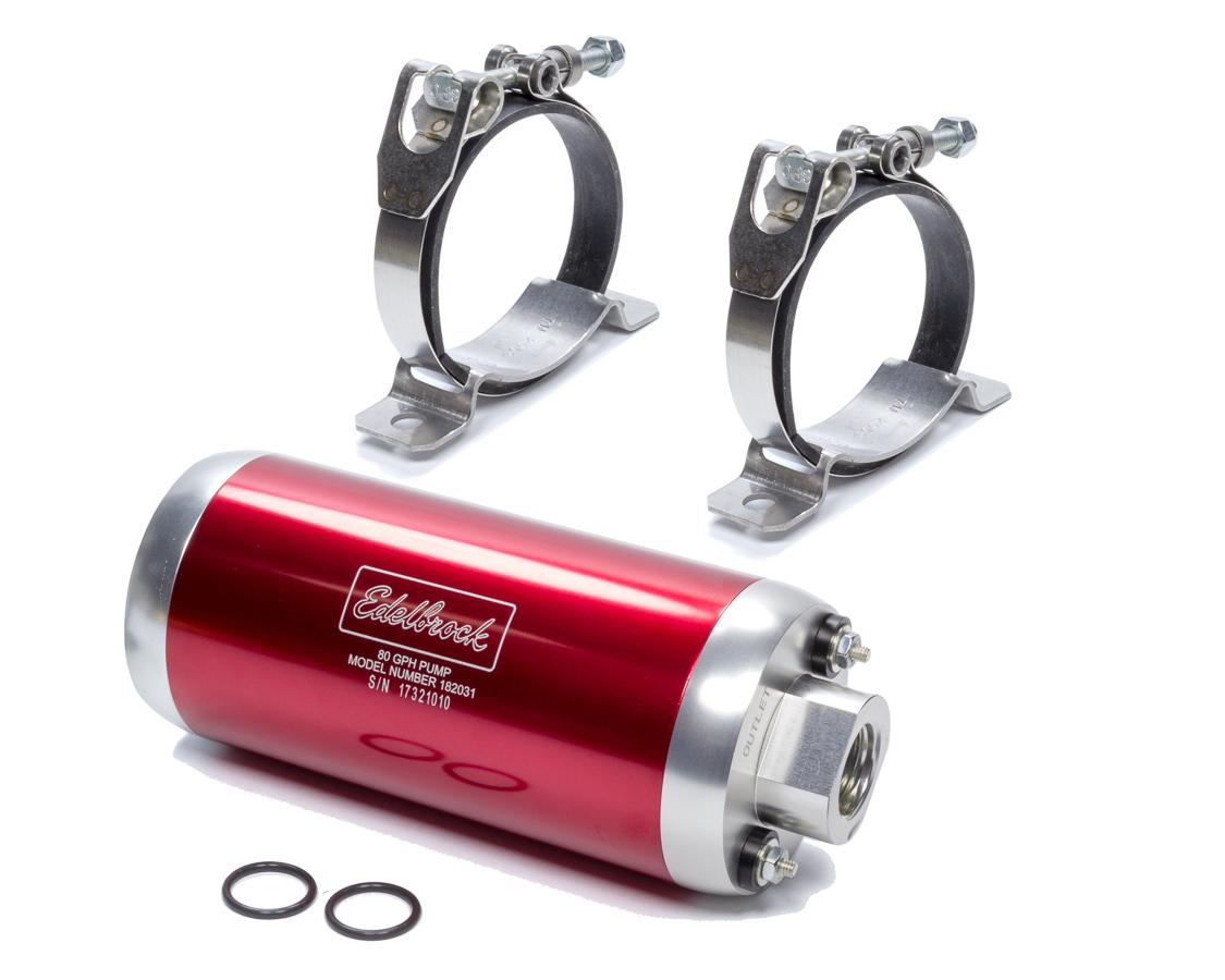 Edelbrock 182031 Fuel Pump, Quiet-Flo, Electric, 80 gph at 45 psi Preset, 10 AN Inlet, 10 AN Outlet, Aluminum, Red Anodize, Gas, Each