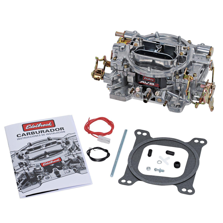 Edelbrock 1902 Carburetor, AVS2, 4-Barrel, 500 CFM, Square Bore, Manual Choke, Mechanical Secondary, Single Inlet, Satin, Each