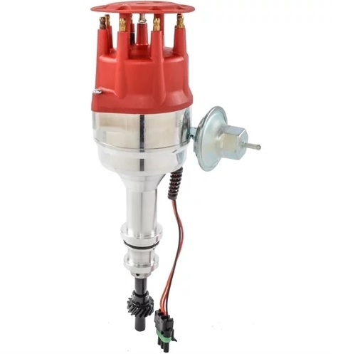 Edelbrock 22758 Distributor, Max-Fire, Ready-To-Run, Magnetic Pickup, Mechanical / Vacuum Advance, HEI Style Terminal, Red, Small Block Ford, Each