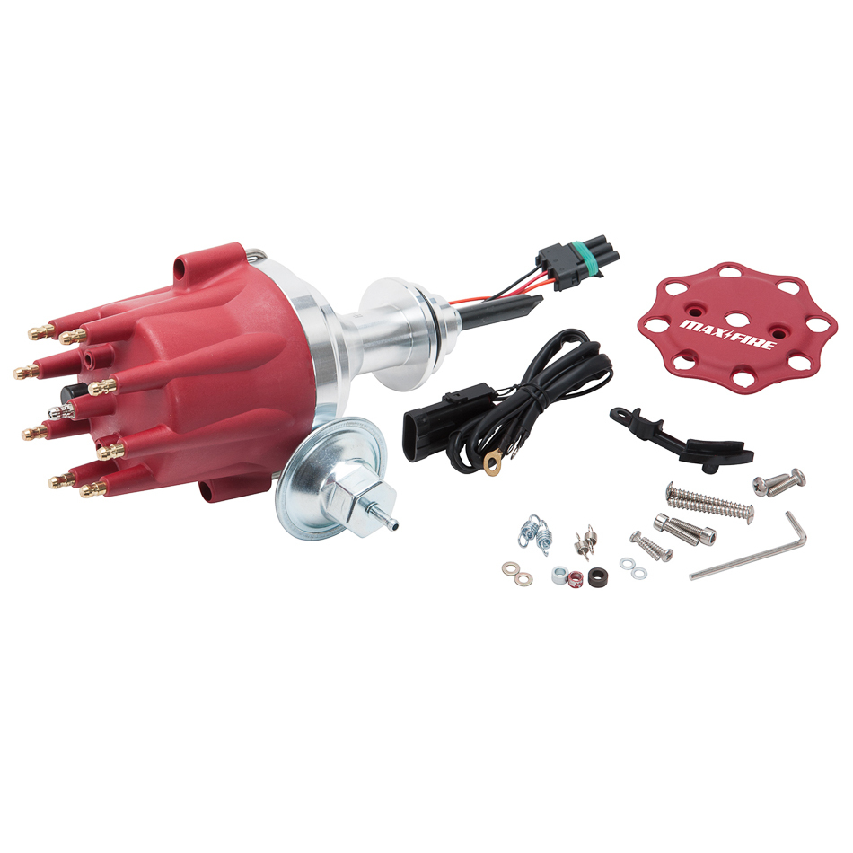 Edelbrock 22761 Distributor, Max-Fire, Ready-To-Run, Magnetic Pickup, Mechanical / Vacuum Advance, HEI Style Terminal, Red, Small Block Mopar, Each