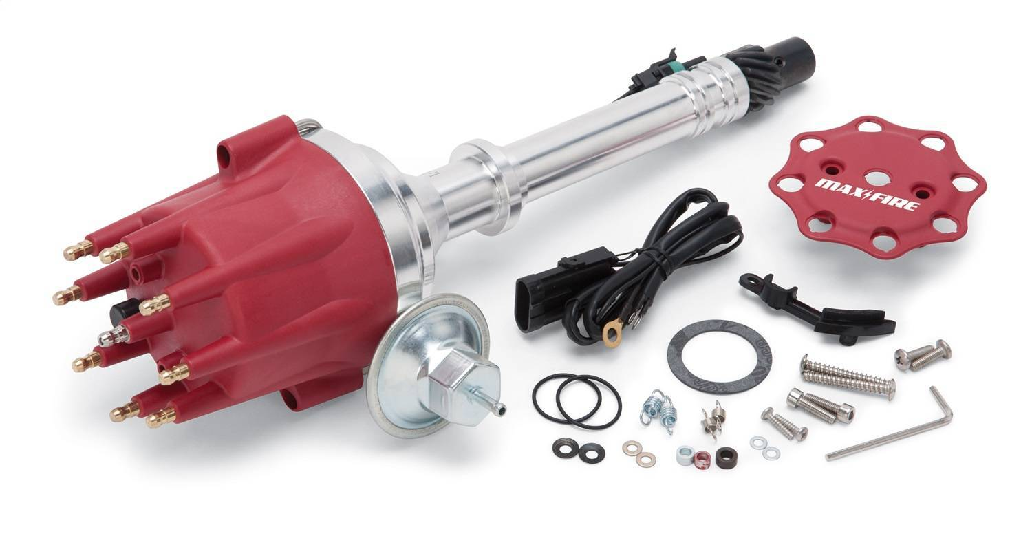 Edelbrock 22762 Distributor, Max-Fire, Ready-To-Run, Magnetic Pickup, Mechanical / Vacuum Advance, HEI Style Terminal, Red, Mopar RB-Series, Each