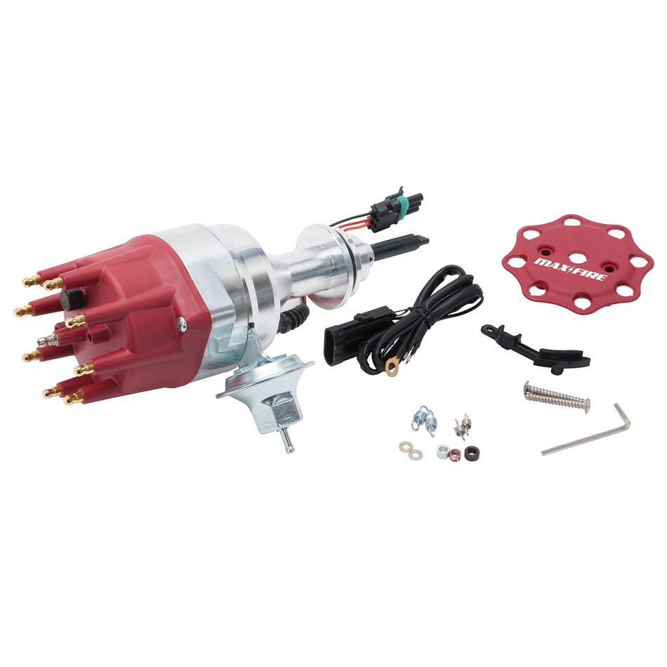 Edelbrock 22763 Distributor, Max-Fire, Ready-To-Run, Magnetic Pickup, Mechanical / Vacuum Advance, HEI Style Terminal, Red, Mopar B-Series, Each