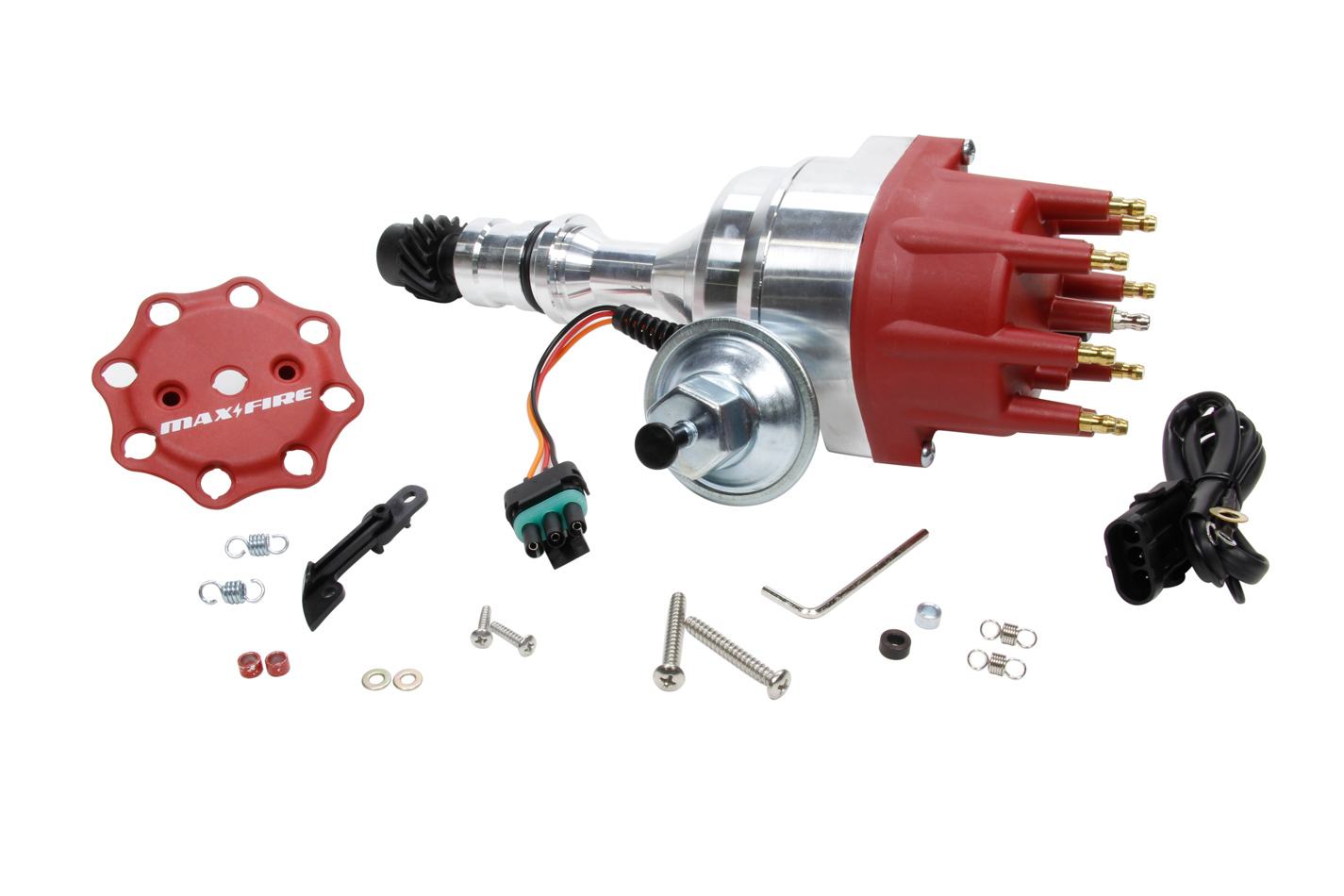 Edelbrock 22764 Distributor, Max-Fire, Ready-To-Run, Magnetic Pickup, Mechanical / Vacuum Advance, HEI Style Terminal, Red, Oldsmobile V8, Each