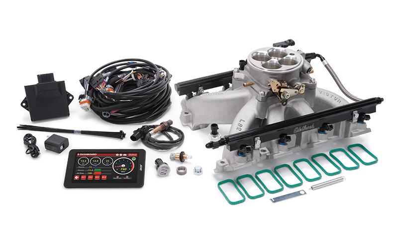 Edelbrock 35750 Fuel Injection, Pro-Flo 4, Multi Port, Sequential, Square Bore, 42 lb/hr Injectors, 1000 CFM, Aluminum, Natural, GM LS-Series, Kit