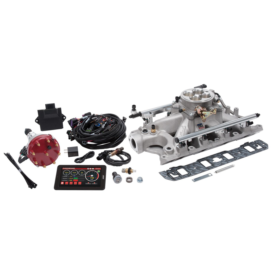 Edelbrock 35940 Fuel Injection, Pro-Flo 4, Multi Port, Sequential, Square Bore, 35 lb/hr Injectors, 1000 CFM, Aluminum, Natural, Small Block Ford, Kit