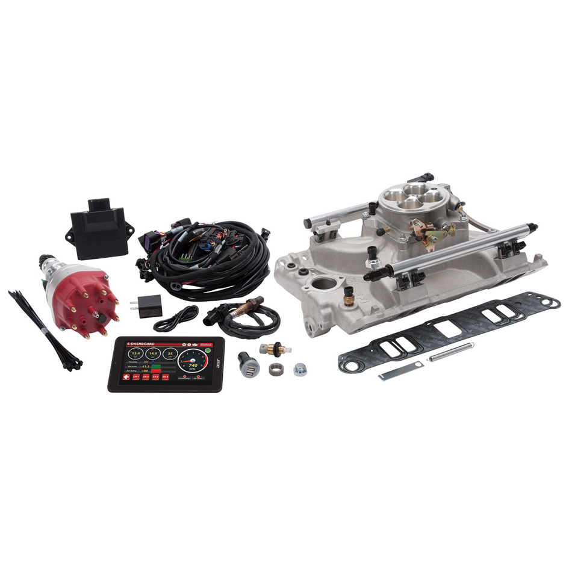 Edelbrock 35980 Fuel Injection, Pro-Flo 4, Multi Port, Sequential, Square Bore, 35 lb/hr Injectors, 1000 CFM, Aluminum, Natural, Pontiac V8, Kit