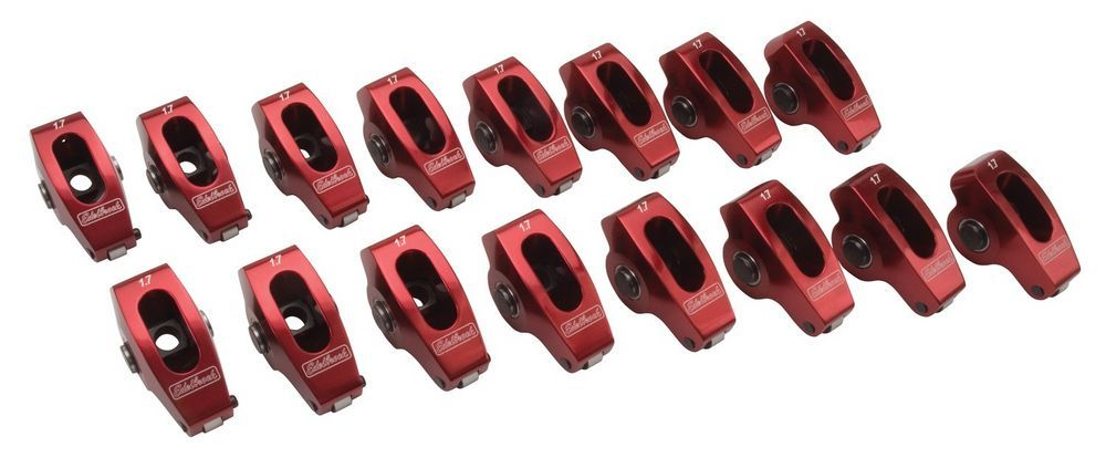 Edelbrock 77790 Rocker Arm, 7/16 in Stud Mount, 1.71 Ratio, Full Roller, Aluminum, Red Anodized, GM W-Series, Set of 16