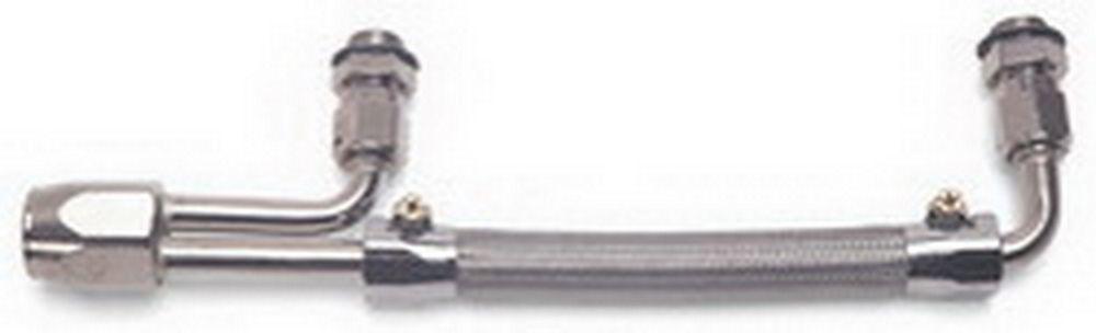 Edelbrock 8091 Carburetor Fuel Line, 3/8 in NPT Female Inlet, 5/8-20 in Dual Outlets, Stainless Hose, Chrome Plated, Dual Quad, Edelbrock Carbs, Kit