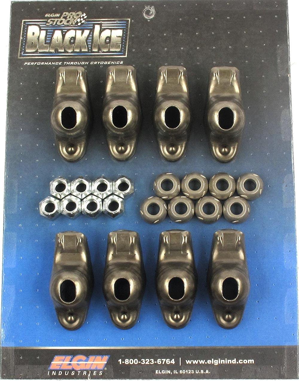 Elgin ICE410738 Rocker Arm, Black Ice, 3/8 in Stud Mount, 1.60 Ratio, OEM / Long Slot, Steel, Small Block Chevy, Set of 8