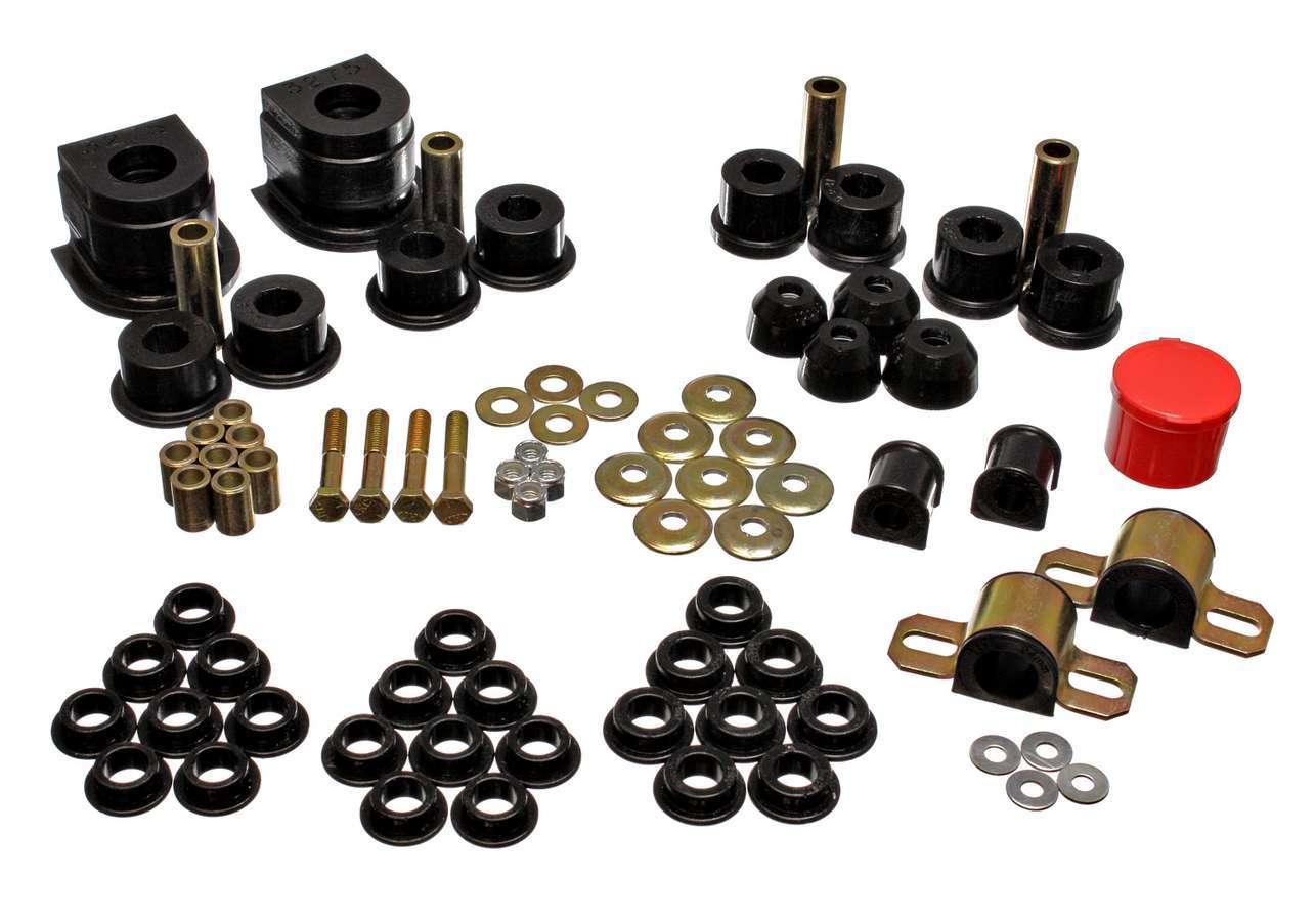 Energy Suspension 11-18101G Contorl Arm Bushing, Hyper-Flex, Front / Rear, 24 mm / 14 mm Bars, Polyurethane / Steel, Black / Cadmium, Mazda RX-7 1986-91, Kit